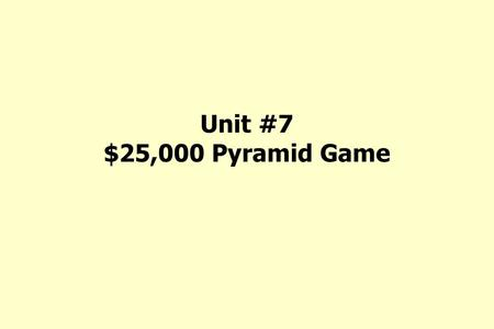 Unit #7 $25,000 Pyramid Game. Chris's Story Chris, a maintenance worker, was walking in an aisle in a building and slipped on a spilled liquid. He hit.