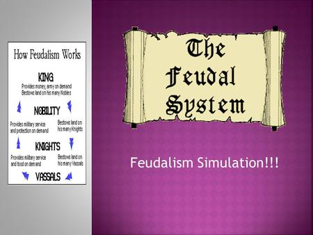 Feudalism Simulation!!!.  Monarch walks in a stately manner and sits on the throne.  All subjects bow their head in honor of their King and/or Queen.