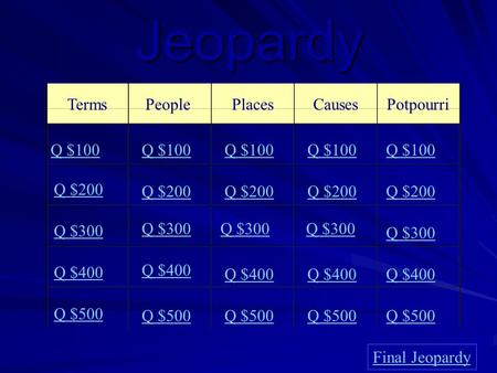 Jeopardy TermsPeoplePlacesCauses Potpourri Q $100 Q $200 Q $300 Q $400 Q $500 Q $100 Q $200 Q $300 Q $400 Q $500 Final Jeopardy.