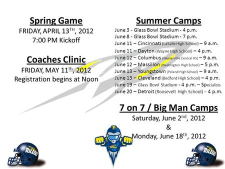 Spring Game FRIDAY, APRIL 13 TH, 2012 7:00 PM Kickoff Coaches Clinic FRIDAY, MAY 11 th, 2012 Registration begins at Noon Summer Camps June 3 - Glass Bowl.