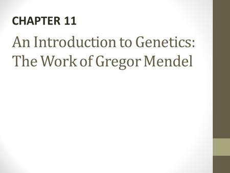 An Introduction to Genetics: The Work of Gregor Mendel CHAPTER 11.