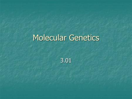 Molecular Genetics 3.01. Information The sequence of nucleotides in DNA codes for proteins. Proteins are the central key to cell function.