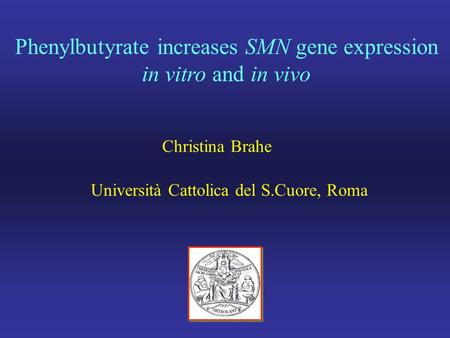 Phenylbutyrate increases SMN gene expression in vitro and in vivo Christina Brahe Università Cattolica del S.Cuore, Roma.