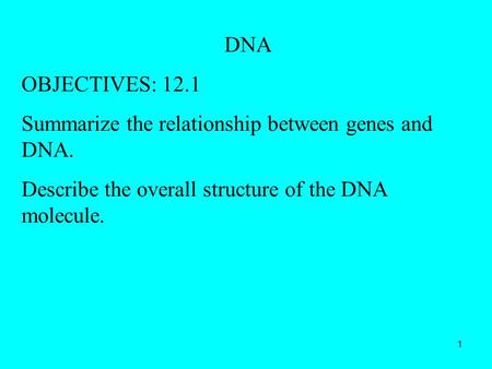 1 DNA OBJECTIVES: 12.1 Summarize the relationship between genes and DNA. Describe the overall structure of the DNA molecule.