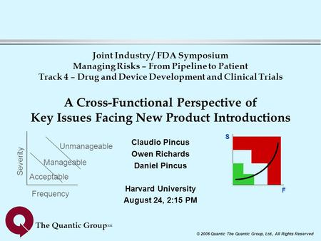 © 2006 Quantic The Quantic Group, Ltd., All Rights Reserved The Quantic Group SM Joint Industry / FDA Symposium Managing Risks – From Pipeline to Patient.