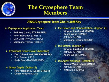 11 The Cryosphere Team Members  Cryosphere Application Team  Jeff Key (Lead; STAR/ASPB) »Peter Romanov (CREST) »Don Cline (NWS/NOHRSC) »Marouane Temimi.