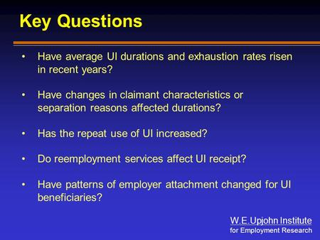 W.E.Upjohn Institute for Employment Research Key Questions Have average UI durations and exhaustion rates risen in recent years? Have changes in claimant.