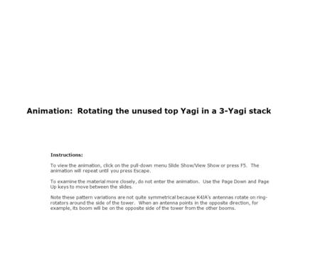 Animation: Rotating the unused top Yagi in a 3-Yagi stack Instructions: To view the animation, click on the pull-down menu Slide Show/View Show or press.