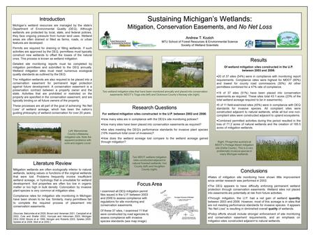 Sustaining Michigan's Wetlands: Mitigation, Conservation Easements, and No Net Loss Andrew T. Kozich MTU School of Forest Resources & Environmental Science.