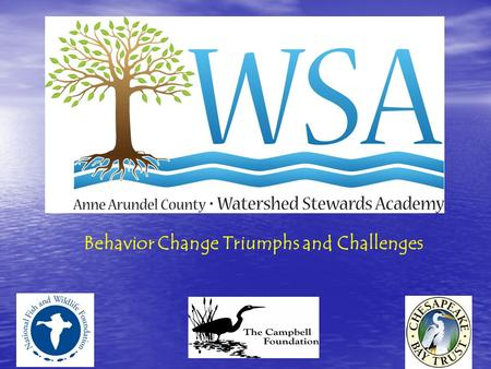 Behavior Change Triumphs and Challenges. Anne Arundel County Watershed Summary 12 watersheds 12 watersheds 354 sub-watersheds 354 sub-watersheds 35 sub-watersheds.