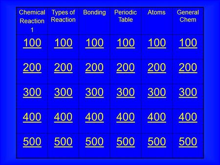 Chemical Reaction 1 Types of Reaction BondingPeriodic Table AtomsGeneral Chem 100 200 300 400 500.