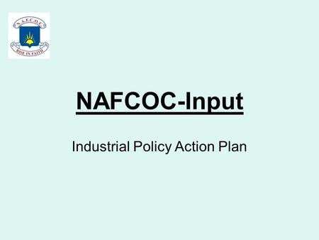 NAFCOC-Input Industrial Policy Action Plan. Industry Size: The current industry is worth an estimated R1.161tn made of the following major groups: (Stats.