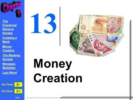 Copyright 2011The McGraw-Hill Companies 13-1 The Fractional Reserve System Creating a Bank Money Creation The Banking System Monetary Multiplier Last Word.