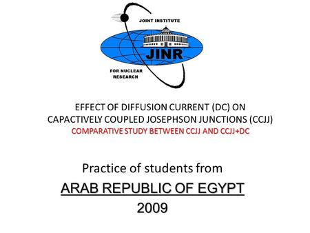 Practice of students from ARAB REPUBLIC OF EGYPT 2009