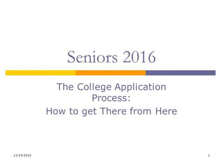 11/24/20151 Seniors 2016 The College Application Process: How to get There from Here.