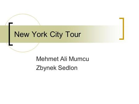 New York City Tour Mehmet Ali Mumcu Zbynek Sedlon.