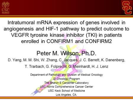 Intratumoral mRNA expression of genes involved in angiogenesis and HIF-1 pathway to predict outcome to VEGFR tyrosine kinase inhibitor (TKI) in patients.