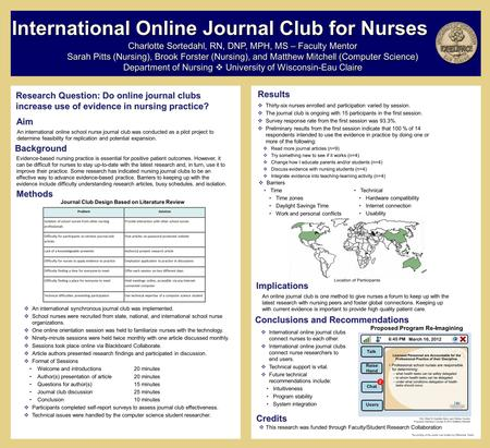 Research Question: Do online journal clubs increase use of evidence in nursing practice? Methods Charlotte Sortedahl, RN, DNP, MPH, MS – Faculty Mentor.