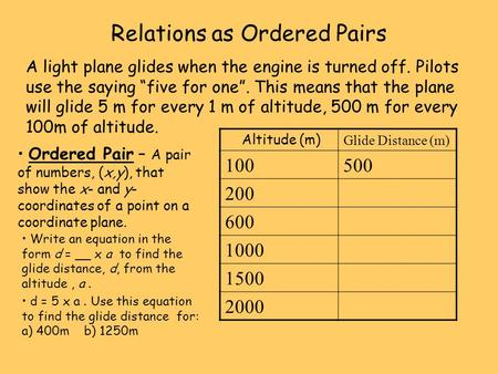 "Relations as Ordered Pairs A light plane glides when the engine is turned off. Pilots use the saying ""five for one"". This means that the plane will glide."