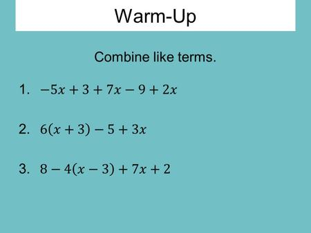 Warm-Up. Key Terms Relation – any set in which an input has an output Function – a relation such that every single input has exactly one output Input.