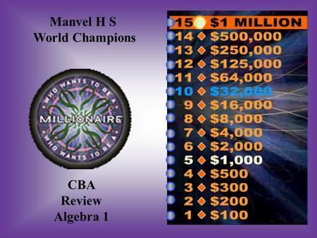 Manvel H S World Champions CBA Review Algebra 1 A: B: #1 Which graph does NOT represent a function? C: D: