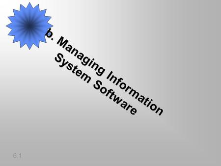B. Managing Information System Software 6.1. SOFTWARE DETAILED INSTRUCTIONS TO CONTROL COMPUTER OPERATION PROGRAM: SET OF INSTRUCTIONS TO THE COMPUTERPROGRAM: