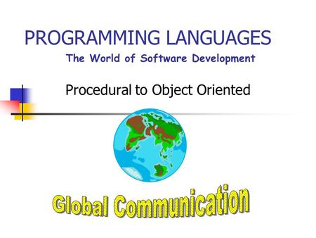 PROGRAMMING LANGUAGES Procedural to Object Oriented The World of Software Development.