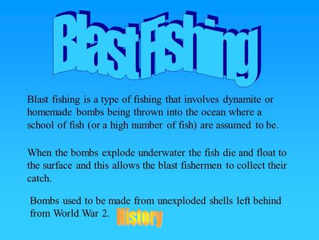 Blast fishing is a type of fishing that involves dynamite or homemade bombs being thrown into the ocean where a school of fish (or a high number of fish)