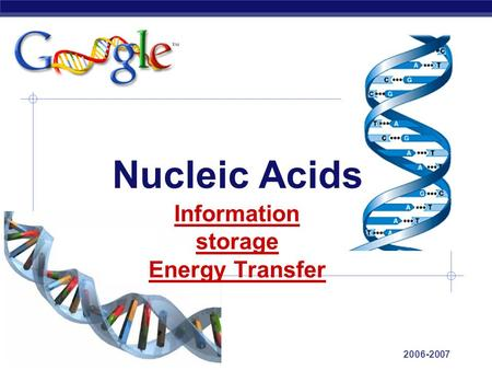 AP Biology 2006-2007 Nucleic Acids Information storage Energy Transfer.