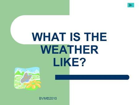 WHAT IS THE WEATHER LIKE? BVM©2010. It is raining. It is rainy. It is raining cats and dogs Verb: Noun: Adjective: adjective nounverb.