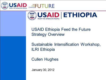 USAID Ethiopia Feed the Future Strategy Overview Sustainable Intensification Workshop, ILRI Ethiopia Cullen Hughes January 30, 2012.