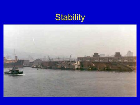 Stability. OVERALL STABILITY External Forces Acting on a Vessel (4.1) In Chapter 4 we will study five areas: 1. The concept of a ship's Righting Moment.