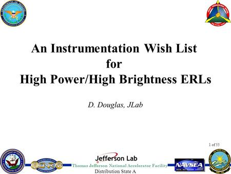 Thomas Jefferson National Accelerator Facility 1 of 55 Distribution State A An Instrumentation Wish List for High Power/High Brightness ERLs D. Douglas,