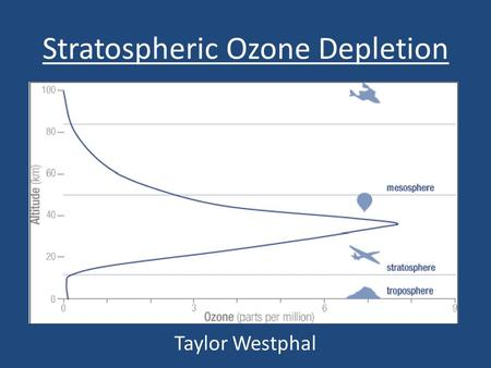Stratospheric Ozone Depletion Taylor Westphal. What is Ozone? What is a DU? Ozone is O 3, created by disassociation of O 2 by UV light, one molecule of.
