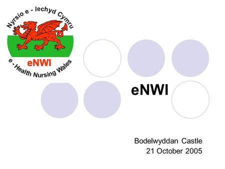 Bodelwyddan Castle 21 October 2005 eNWI. The story of a ' Nurses for Nurses' collaboration in Wales Dame June Clark Chair RCN Information in Nursing Forum.