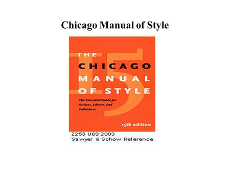 Chicago Manual of Style. About Notes Subsequent references to sources already fully cited Note consisting of several references documenting a single fact.
