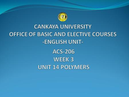 TARGET VOCABULARY CANKAYA UNIVERSITY - OFFICE OF BASIC AND ELECTIVE COURSES- ENGLISH UNIT.