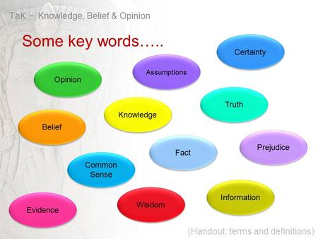 Opinion Belief Truth Knowledge Certainty Information Fact Prejudice Evidence TaK – Knowledge, Belief & Opinion Some key words….. Common Sense Wisdom Assumptions.