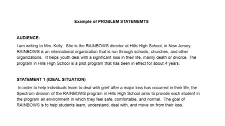 Example of PROBLEM STATEMEMTS AUDIENCE: I am writing to Mrs. Kelly. She is the RAINBOWS director at Hills High School, in New Jersey. RAINBOWS is an international.