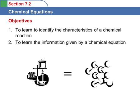 Objectives To learn to identify the characteristics of a chemical reaction To learn the information given by a chemical equation =