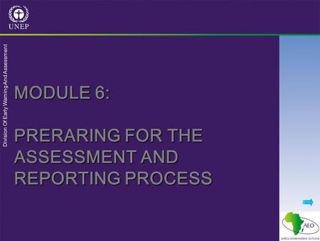 Division Of Early Warning And Assessment MODULE 6: PRERARING FOR THE ASSESSMENT AND REPORTING PROCESS.