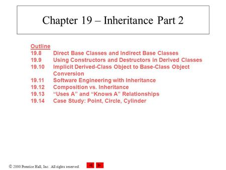  2000 Prentice Hall, Inc. All rights reserved. Chapter 19 – Inheritance Part 2 Outline 19.8Direct Base Classes and Indirect Base Classes 19.9Using Constructors.