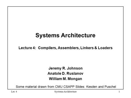 Lec 4Systems Architecture1 Systems Architecture Lecture 4: Compilers, Assemblers, Linkers & Loaders Jeremy R. Johnson Anatole D. Ruslanov William M. Mongan.