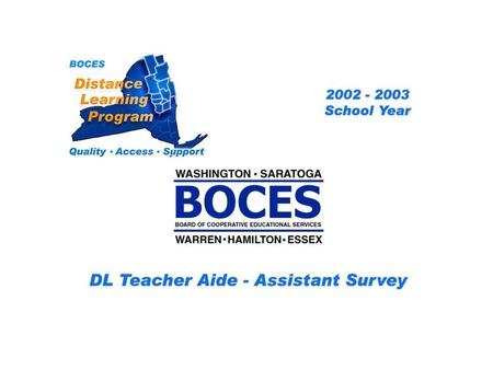 SAN Distance Learning Project DL Aide - Assistant Survey 2002 – 2003 School Year... BOCES Distance Learning Program Quality Access Support.