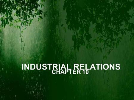 INDUSTRIAL RELATIONS CHAPTER 10.