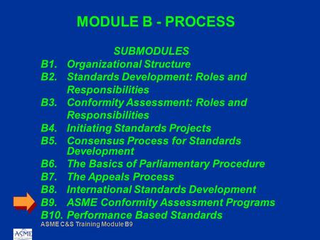 ASME C&S Training Module B9 MODULE B - PROCESS SUBMODULES B1.Organizational Structure B2.Standards Development: Roles and Responsibilities B3.Conformity.