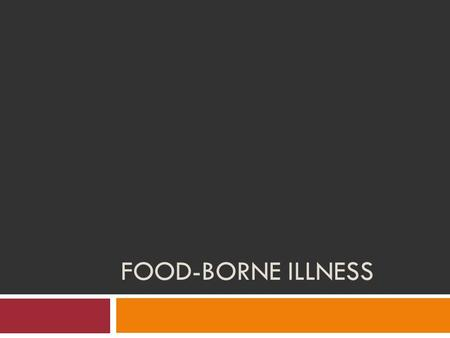 FOOD-BORNE ILLNESS. Important Vocabulary Contaminate: To make something impure, unclean, polluted, or harmful. Food Borne Illness: Sickness caused by.