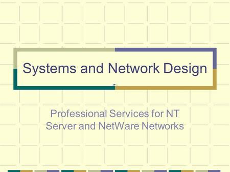 Systems and Network Design Professional Services for NT Server and NetWare Networks.