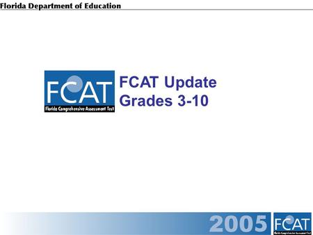 FCAT Update Grades 3-10. FCAT Reading by Achievement Level Grades 3-10.