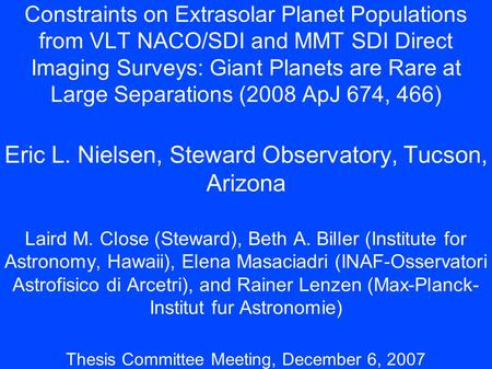 Constraints on Extrasolar Planet Populations from VLT NACO/SDI and MMT SDI Direct Imaging Surveys: Giant Planets are Rare at Large Separations (2008 ApJ.